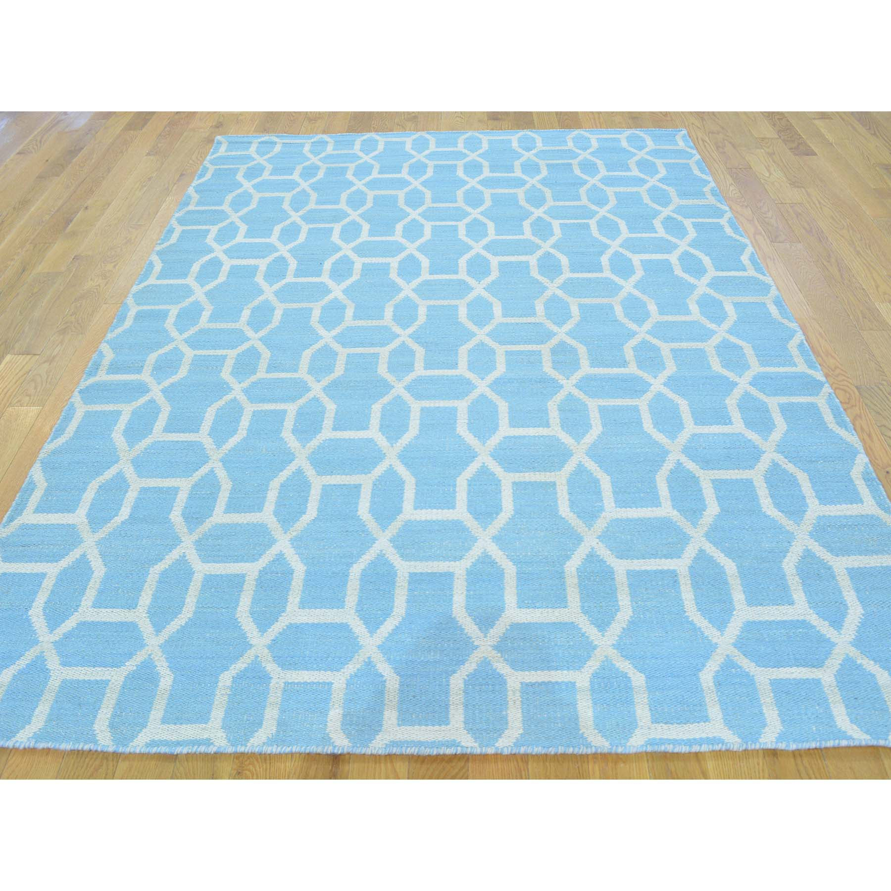 "Handmade Flat Weave Rectangle Rug > Design# SH26393 > Size: 5'-4"" x 7'-3"" [ONLINE ONLY]"