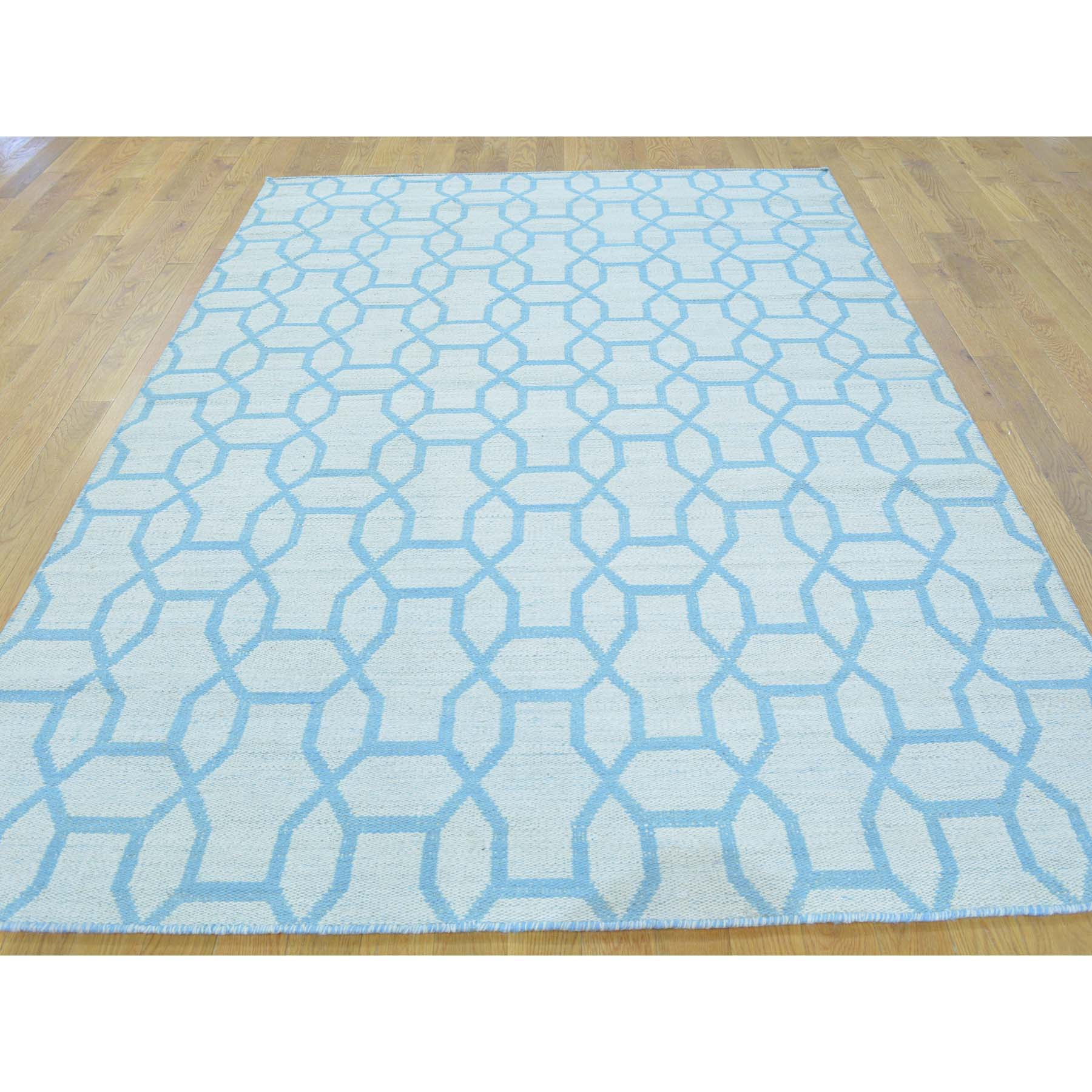 "Handmade Flat Weave Rectangle Rug > Design# SH26403 > Size: 5'-4"" x 7'-9"" [ONLINE ONLY]"