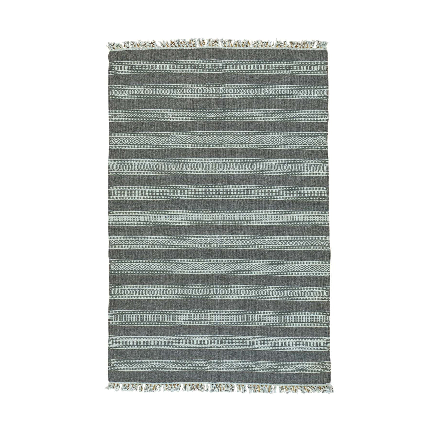 "Handmade Flat Weave Rectangle Rug > Design# SH30014 > Size: 3'-10"" x 5'-10"" [ONLINE ONLY]"