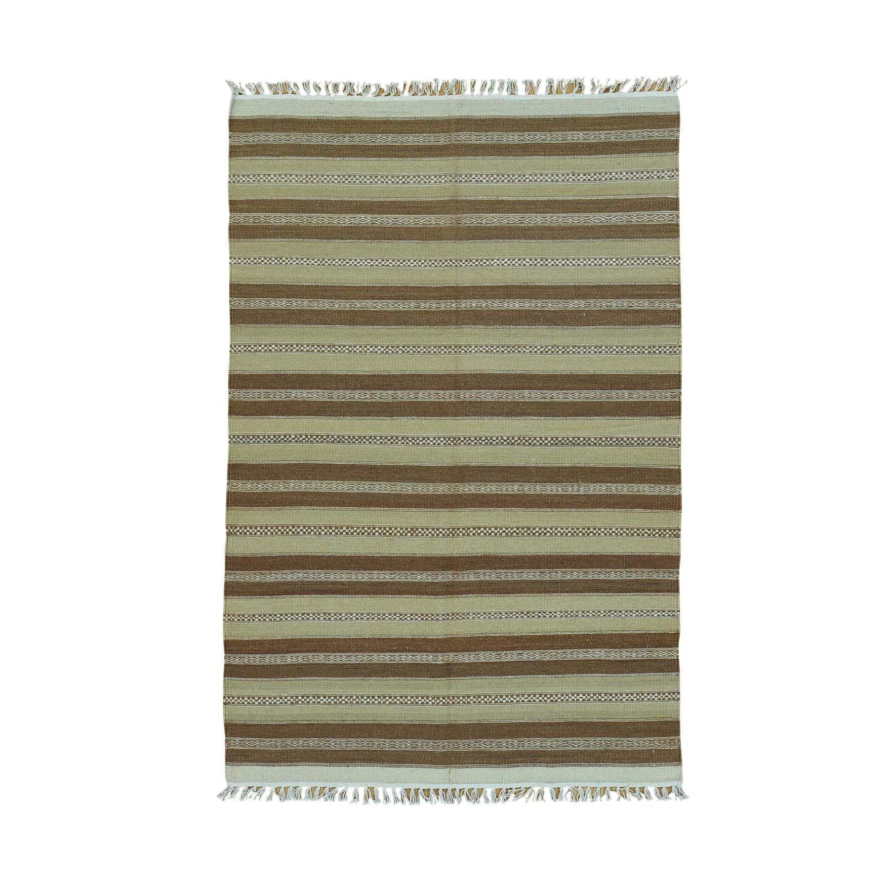 "Handmade Flat Weave Rectangle Rug > Design# SH30015 > Size: 3'-10"" x 5'-10"" [ONLINE ONLY]"