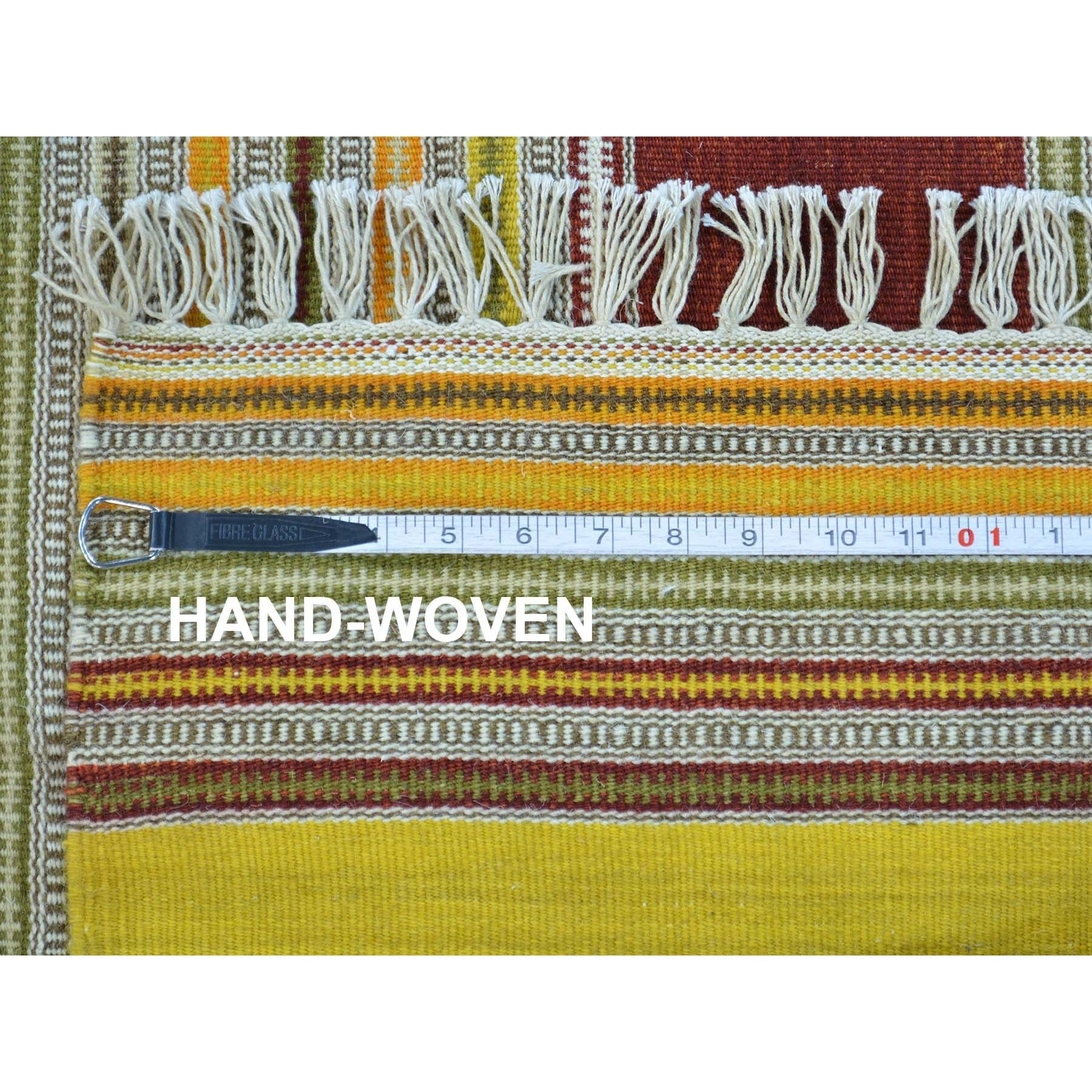 "Handmade Flat Weave Rectangle Rug > Design# SH30039 > Size: 6'-1"" x 9'-4"" [ONLINE ONLY]"