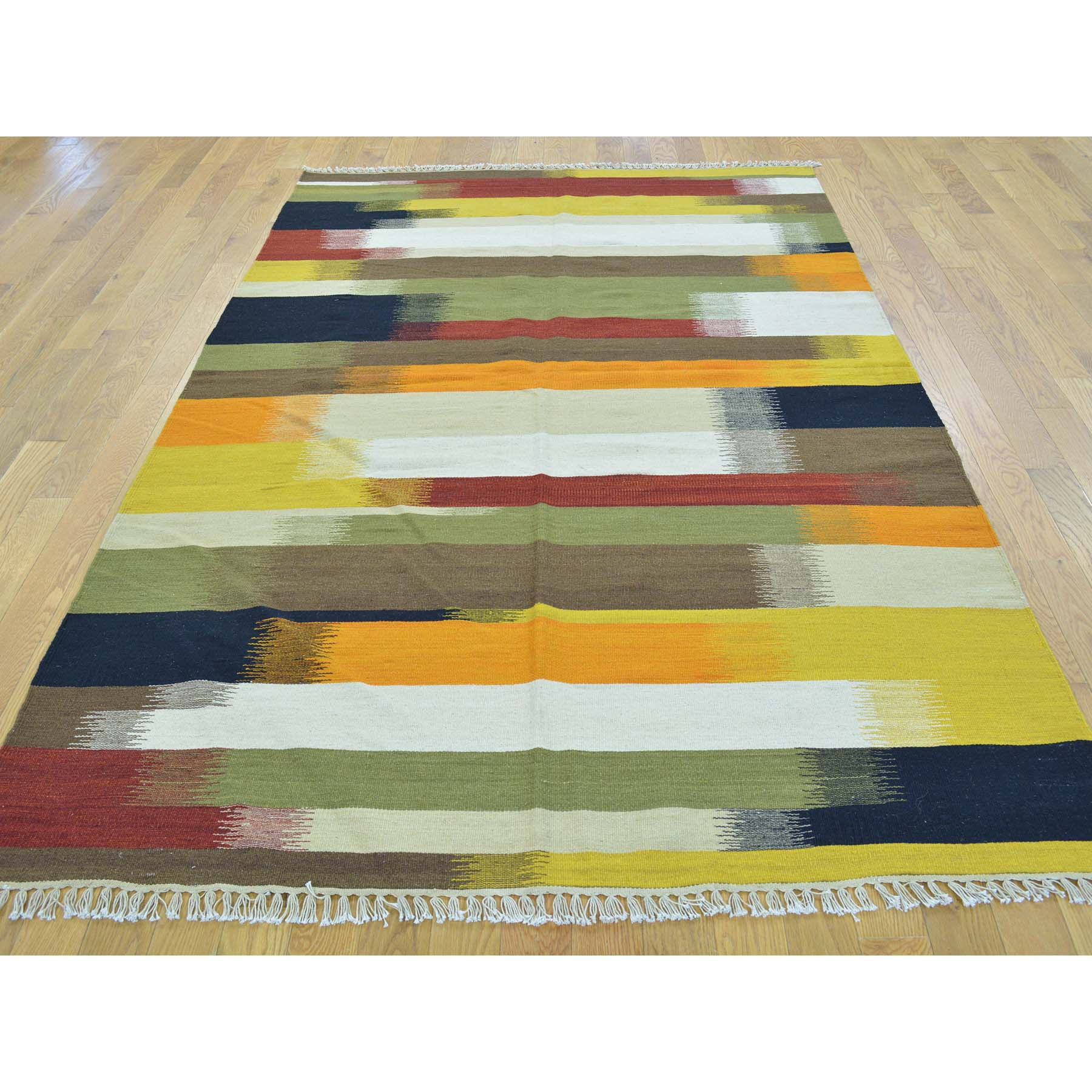 "Handmade Flat Weave Rectangle Rug > Design# SH30053 > Size: 5'-0"" x 8'-0"" [ONLINE ONLY]"