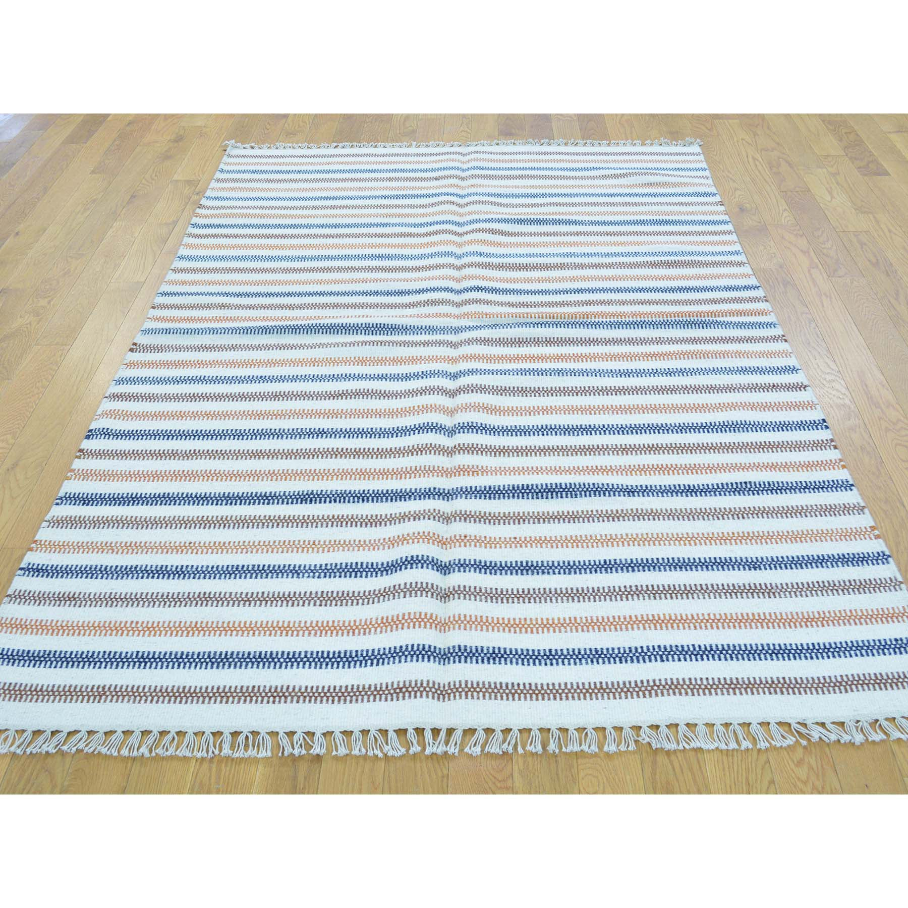"Handmade Flat Weave Rectangle Rug > Design# SH30055 > Size: 4'-7"" x 6'-8"" [ONLINE ONLY]"
