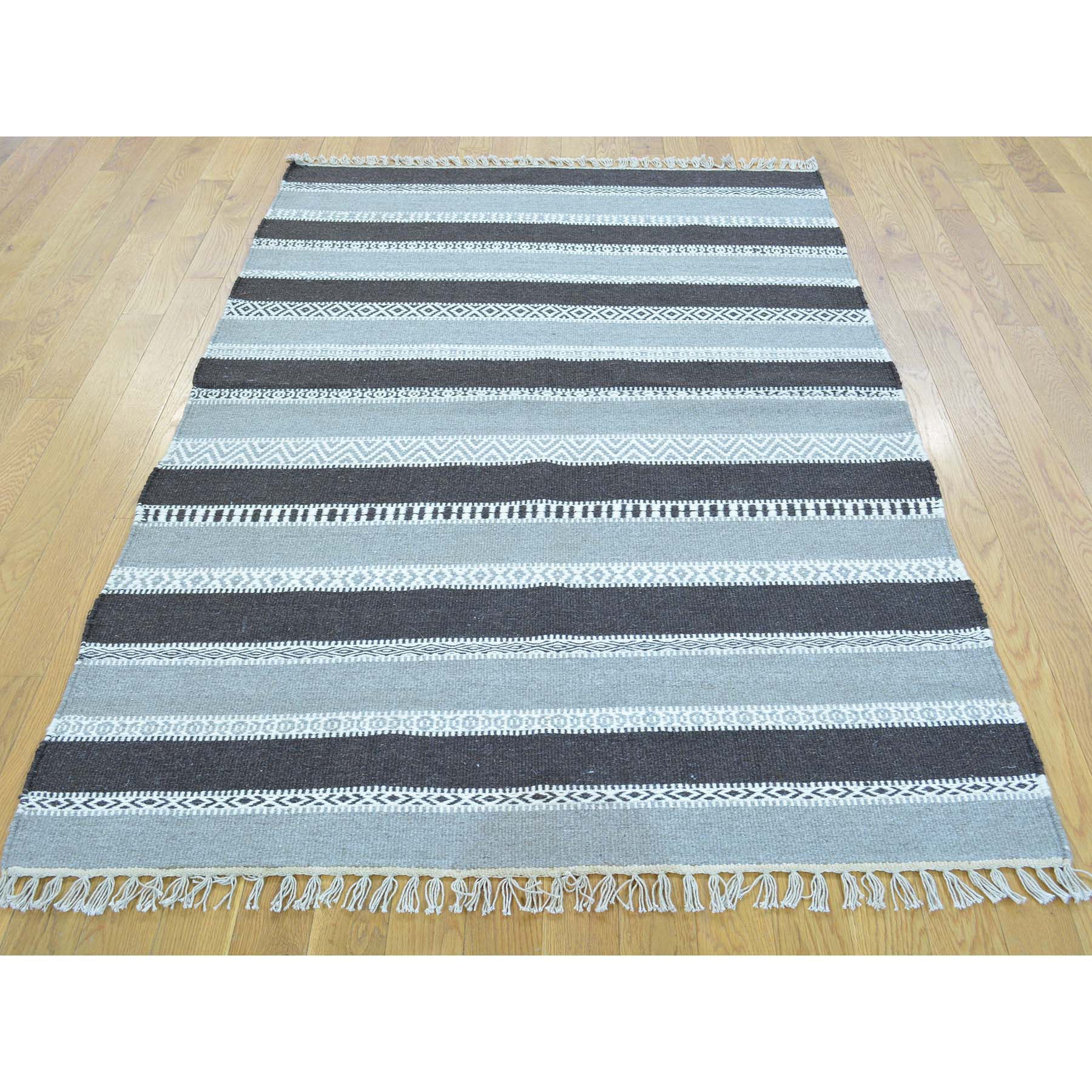 "Handmade Flat Weave Rectangle Rug > Design# SH30075 > Size: 4'-0"" x 6'-0"" [ONLINE ONLY]"