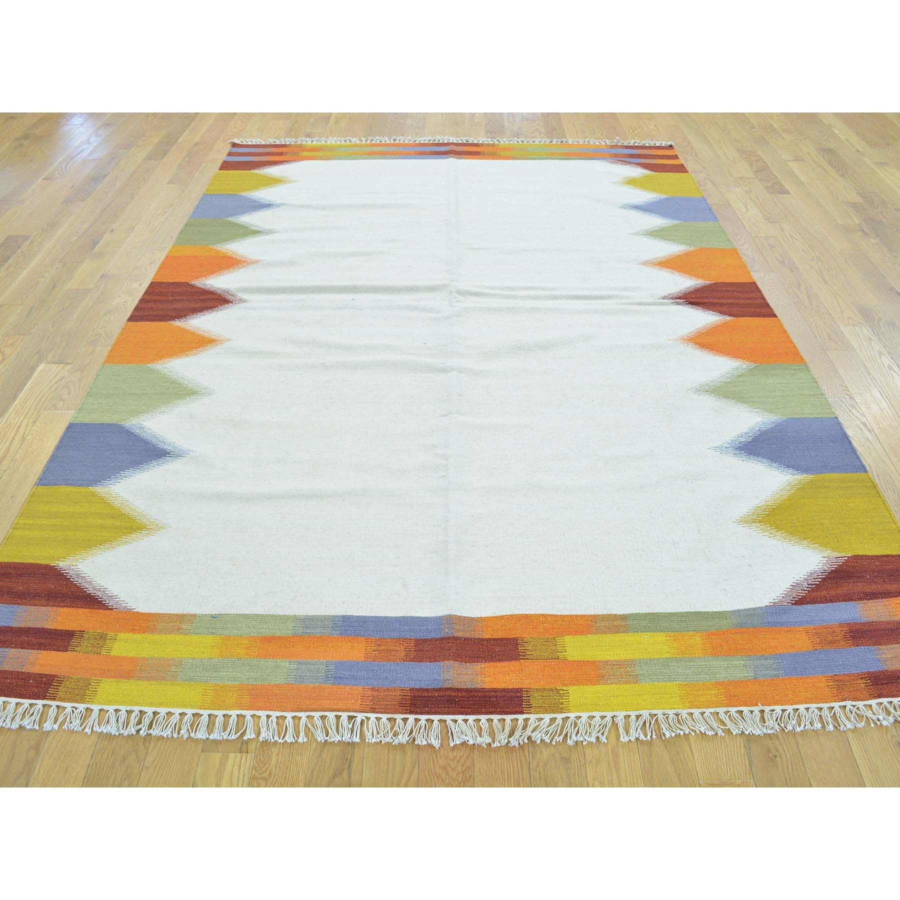 "Handmade Flat Weave Rectangle Rug > Design# SH30077 > Size: 5'-5"" x 7'-10"" [ONLINE ONLY]"