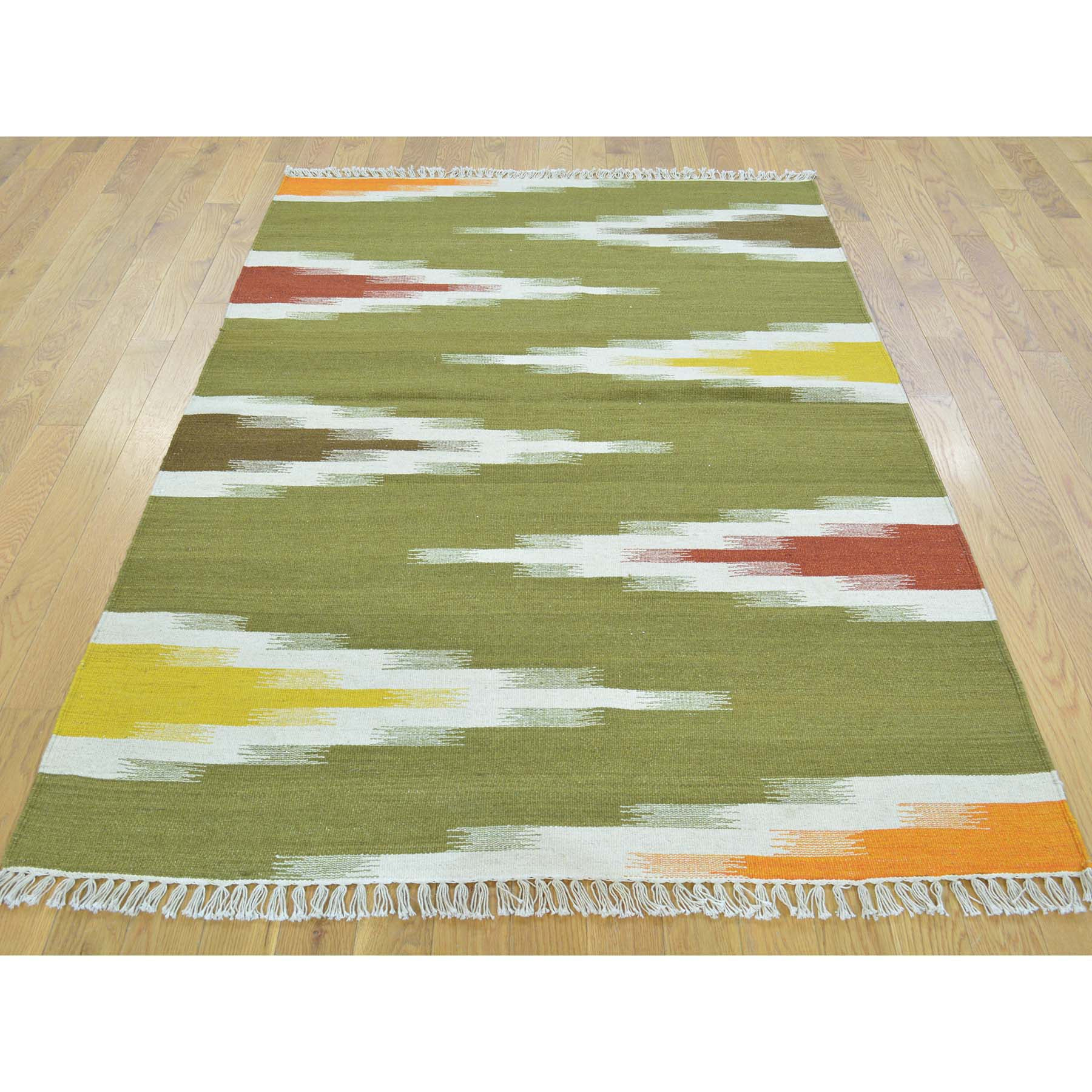 "Handmade Flat Weave Rectangle Rug > Design# SH30118 > Size: 4'-1"" x 6'-3"" [ONLINE ONLY]"