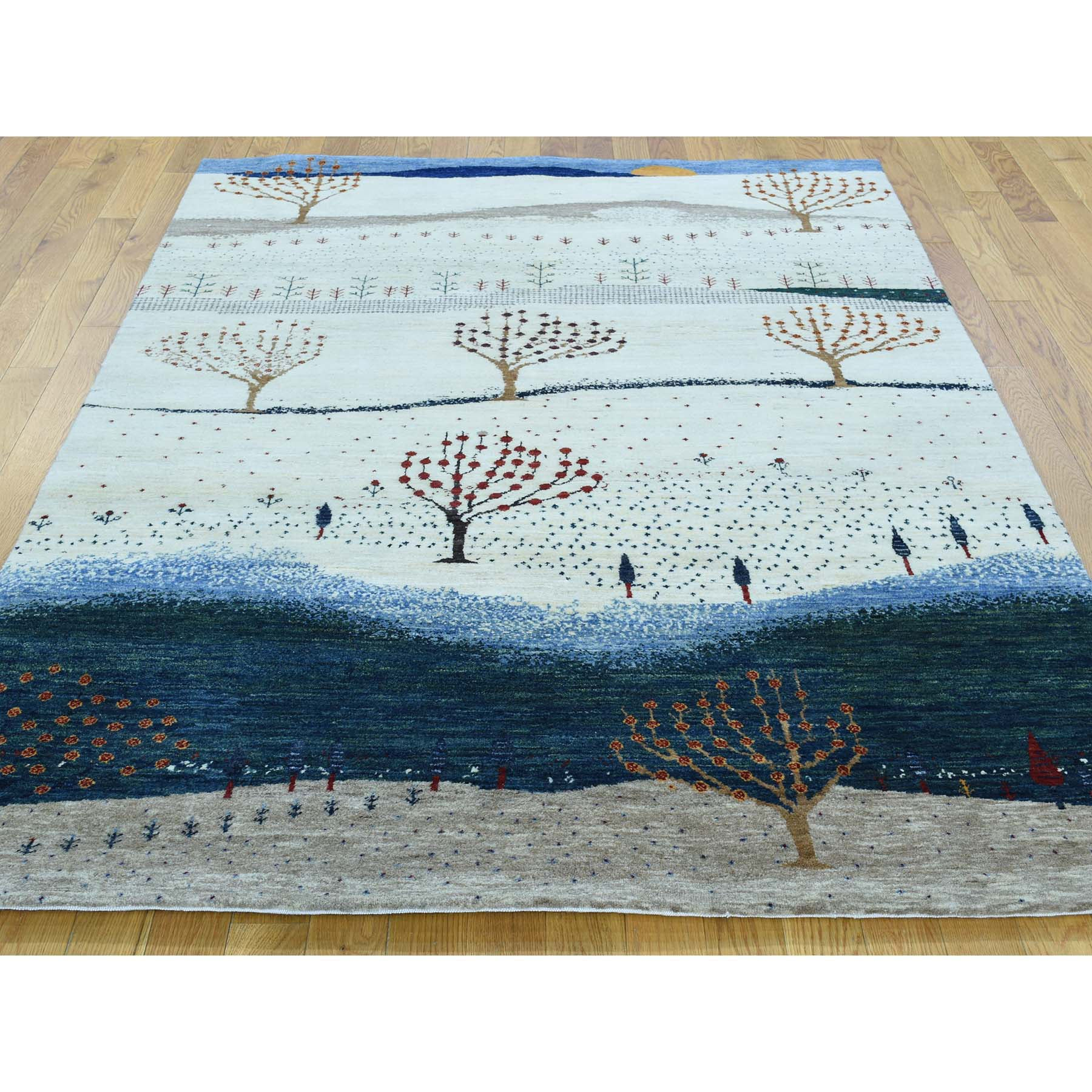 "Handmade Modern and Contemporary Rectangle Rug > Design# SH30195 > Size: 5'-0"" x 6'-7"" [ONLINE ONLY]"