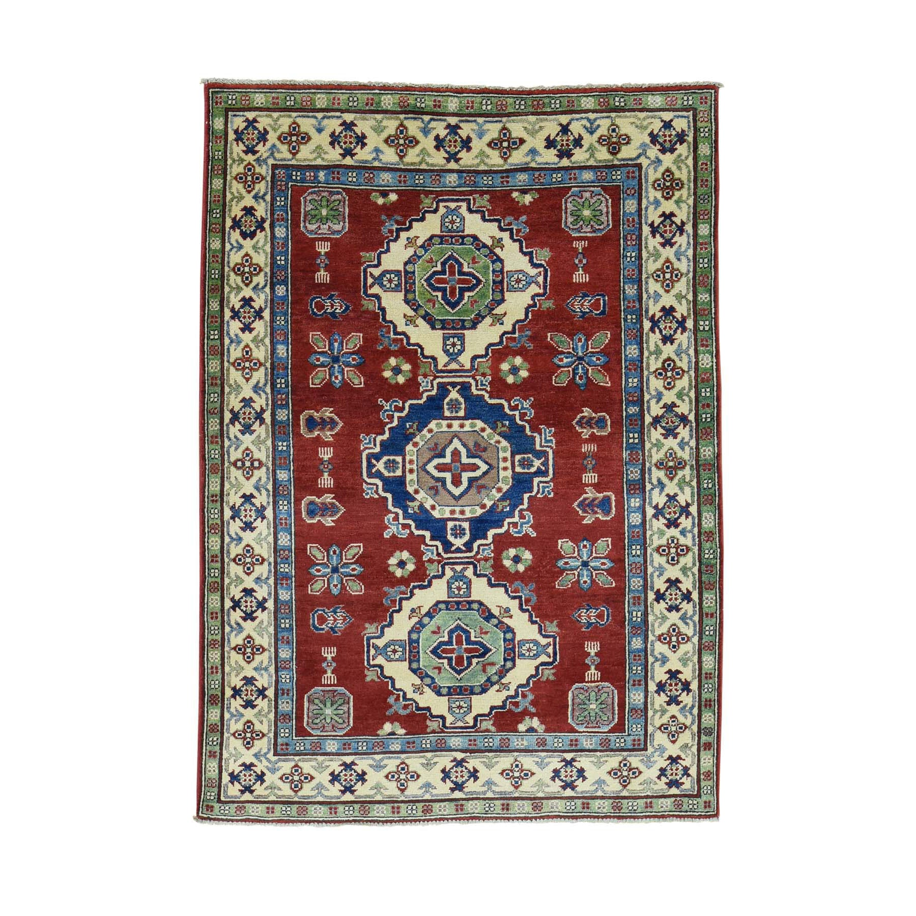"Handmade Kazak Rectangle Rug > Design# SH31289 > Size: 4'-1"" x 5'-9"" [ONLINE ONLY]"