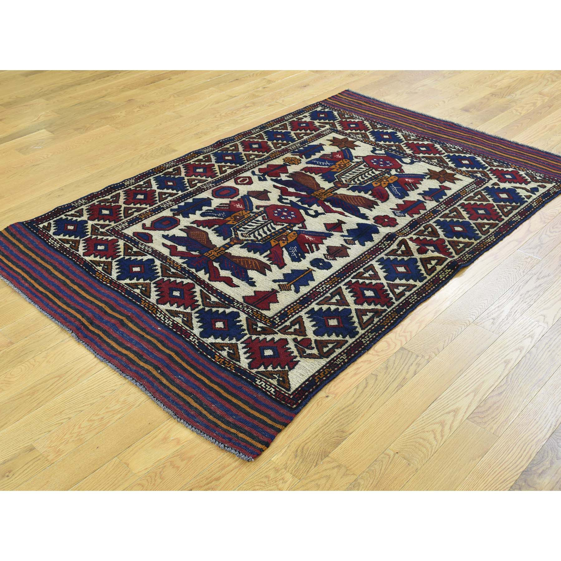 "Handmade Tribal & Geometric Rectangle Rug > Design# SH32121 > Size: 4'-1"" x 6'-3"" [ONLINE ONLY]"