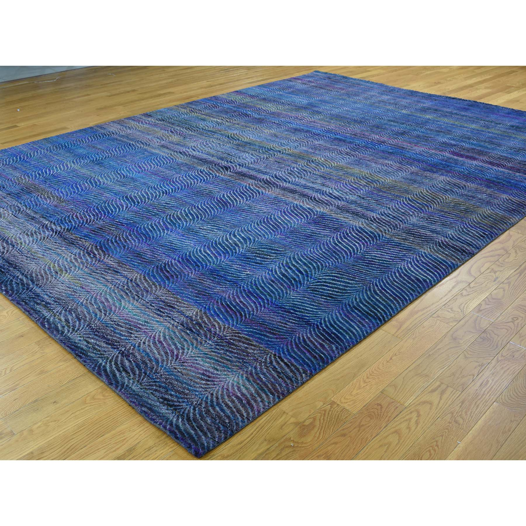 "Handmade Modern and Contemporary Rectangle Rug > Design# SH36425 > Size: 9'-0"" x 12'-2"" [ONLINE ONLY]"