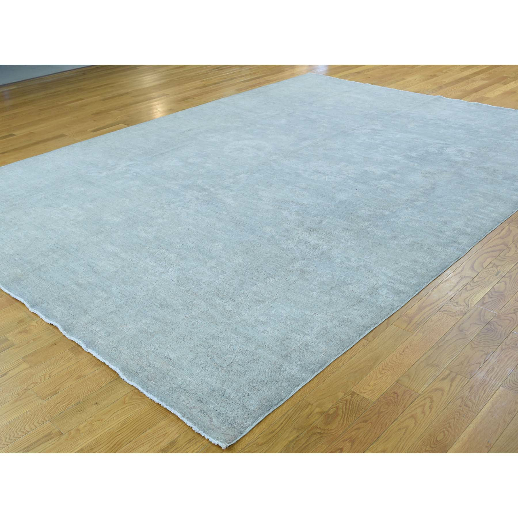 "Handmade White Wash Vintage & Silver Wash Rectangle Rug > Design# SH36724 > Size: 8'-6"" x 11'-7"" [ONLINE ONLY]"
