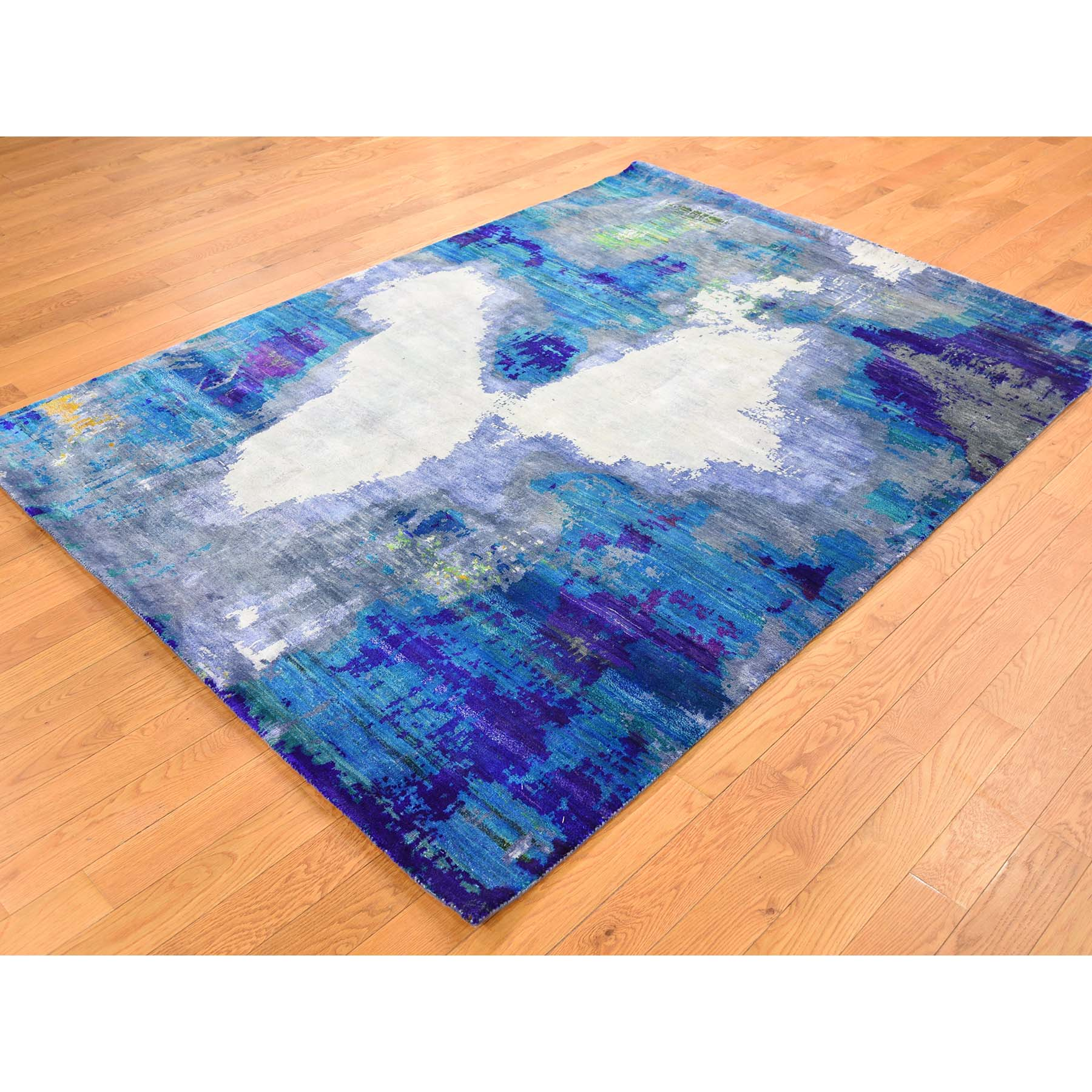 "Handmade Modern and Contemporary Rectangle Rug > Design# SH39997 > Size: 5'-0"" x 7'-0"" [ONLINE ONLY]"