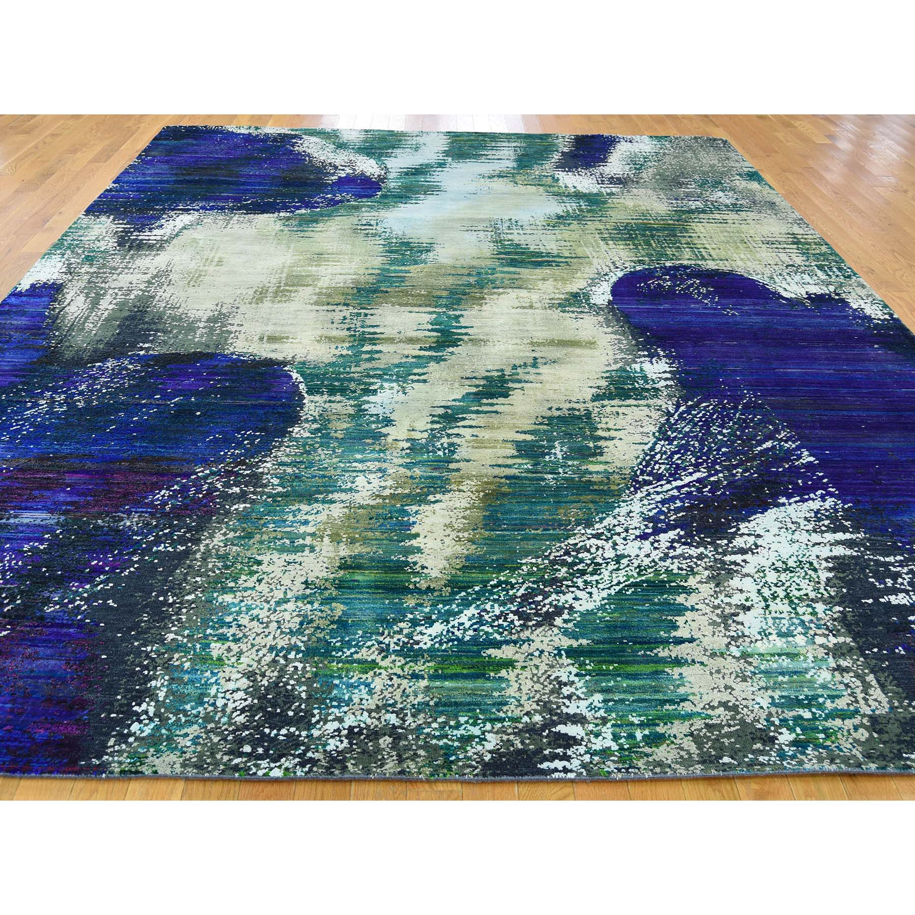 "Handmade Modern and Contemporary Rectangle Rug > Design# SH40619 > Size: 8'-10"" x 11'-9"" [ONLINE ONLY]"