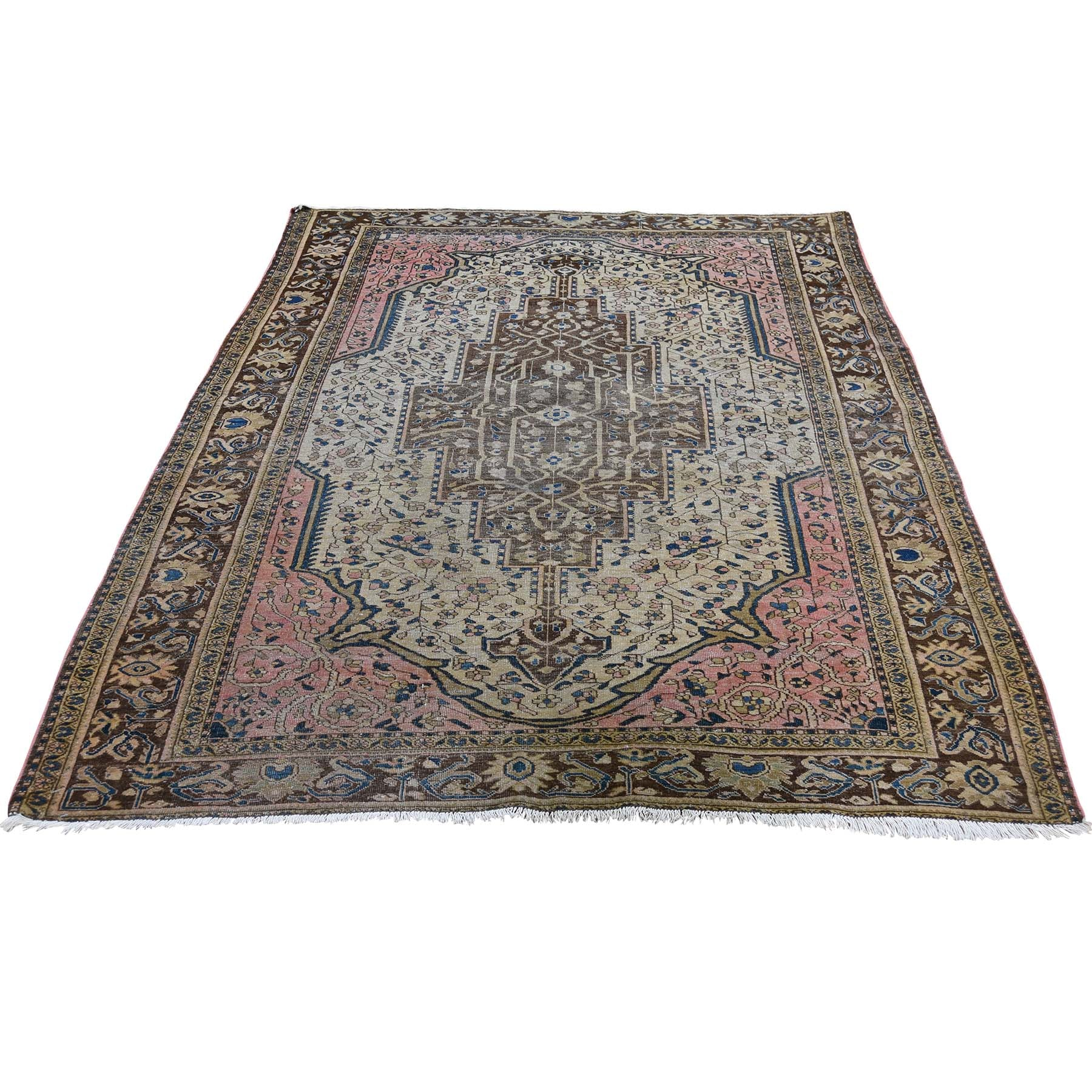 "Handmade Antique Rectangle Rug > Design# SH45918 > Size: 4'-5"" x 6'-6"" [ONLINE ONLY]"