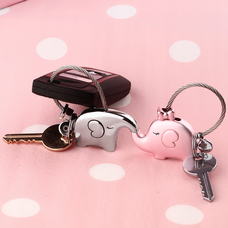 Elephant Couple Key Ring
