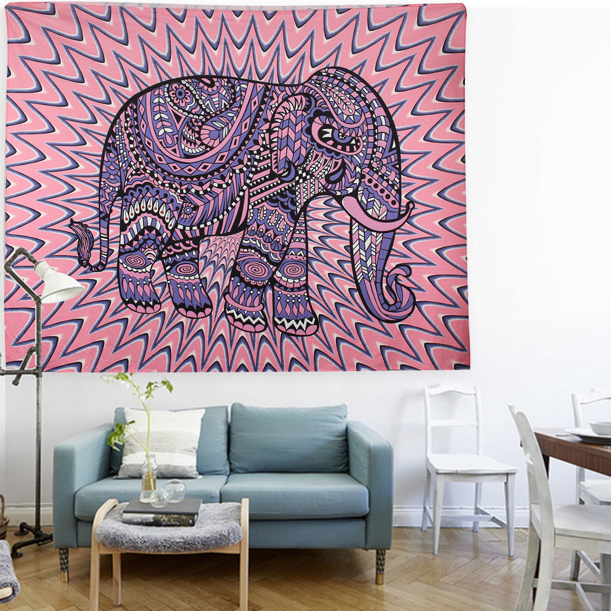 Pink Elephant Vibes Tapestry