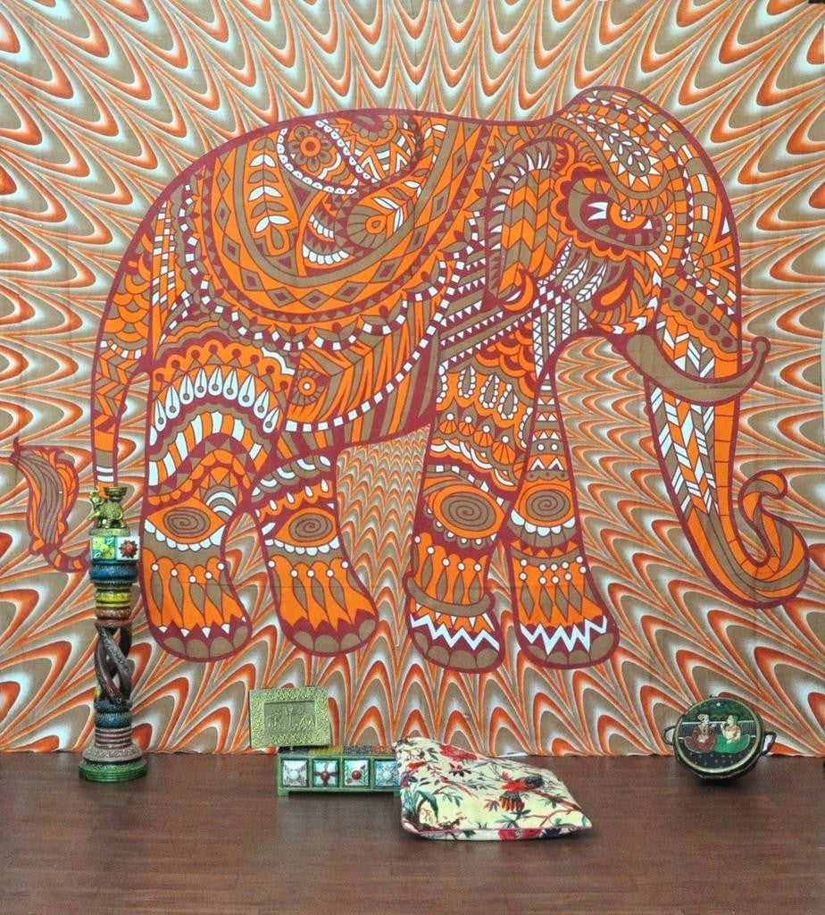 Orange Elephant Vibes Tapestry