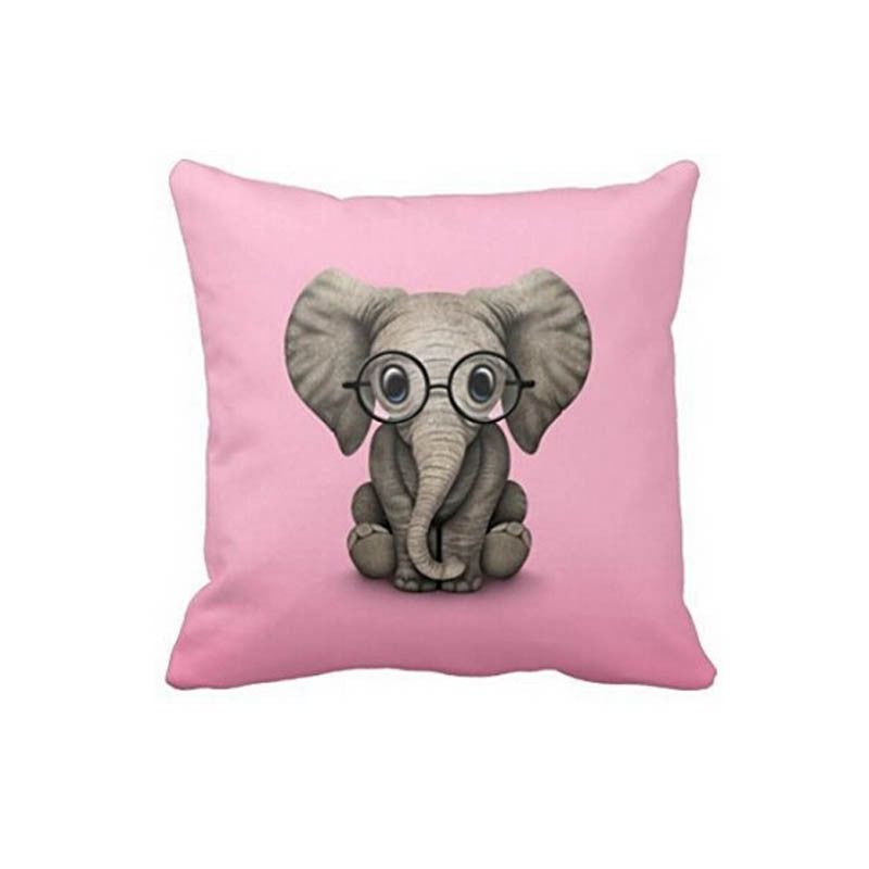 Baby Elephant with Reading Glasses Pillow