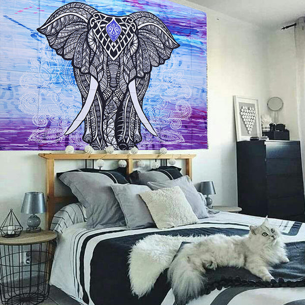 Purple Lotus Elephant Tapestry