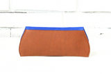 [Electric Bluebonnet Suede/Saddle Tan] Pommel Clutch back view