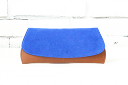 [Electric Bluebonnet Suede/Saddle Tan] Pommel Clutch