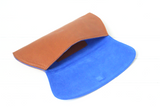 [Electric Bluebonnet Suede/Saddle Tan] Pommel Clutch open view