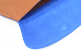 [Electric Bluebonnet Suede/Saddle Tan] Pommel Clutch open view close up