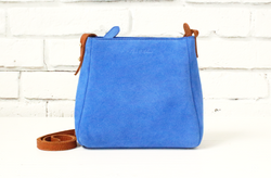 [Electric Bluebonnet Suede/Saddle Tan] crossbody stirrup bag