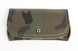 [Camo] Pretty Pocket. A multipurpose leather pocket with gold button closure perfect for ID, credit cards, cash, key fob, etc.
