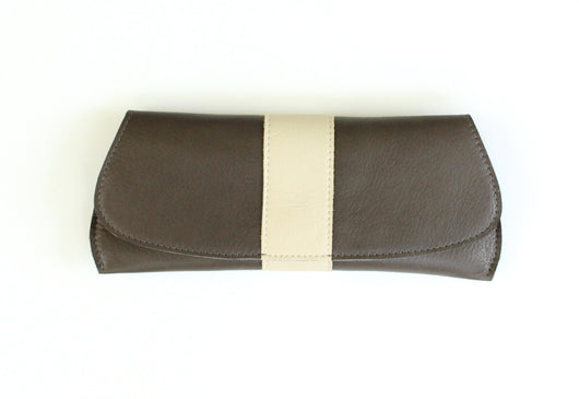 [Bonfire] Pommel Clutch shown in Ash Gray, Ember/Rust Suede/Cream White stripe down the middle front.