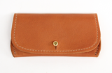 [Saddle Tan] Pretty Pocket. A multipurpose leather pocket with gold button closure perfect for ID, credit cards, cash, key fob, etc.