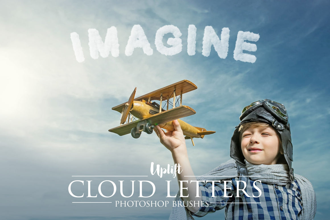 40 Cloud Letter Brushes for Photoshop - Uplift Photoshop Actions, Photoshop Overlays and Lightroom Presets