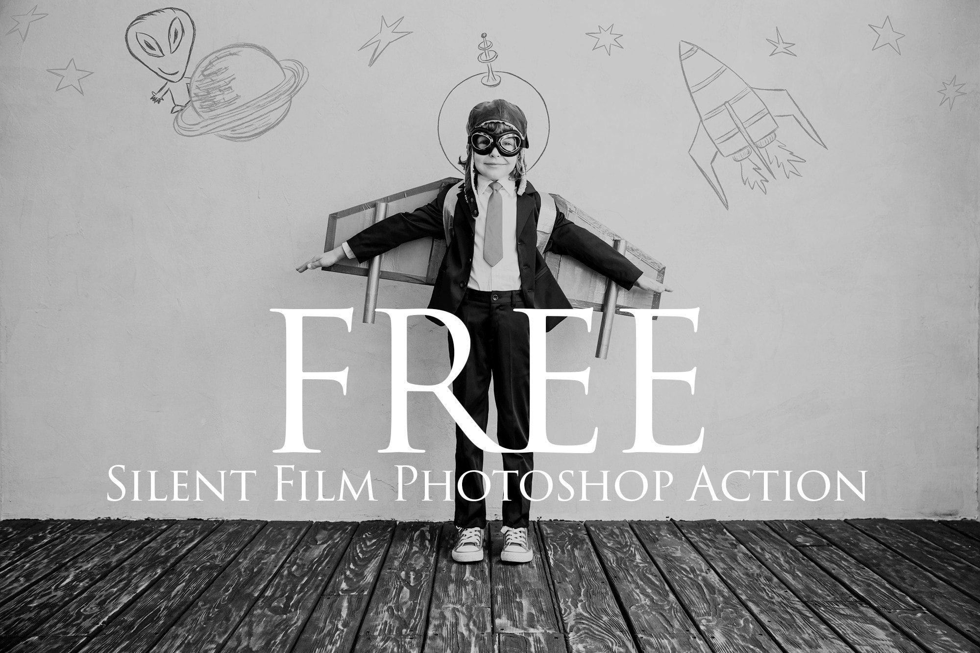 Silent film photoshop action free uplift photoshop actions photoshop overlays and lightroom presets