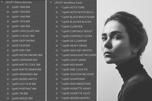 Monochrome Portrait Presets for Lightroom - Uplift Photoshop Actions, Photoshop Overlays and Lightroom Presets