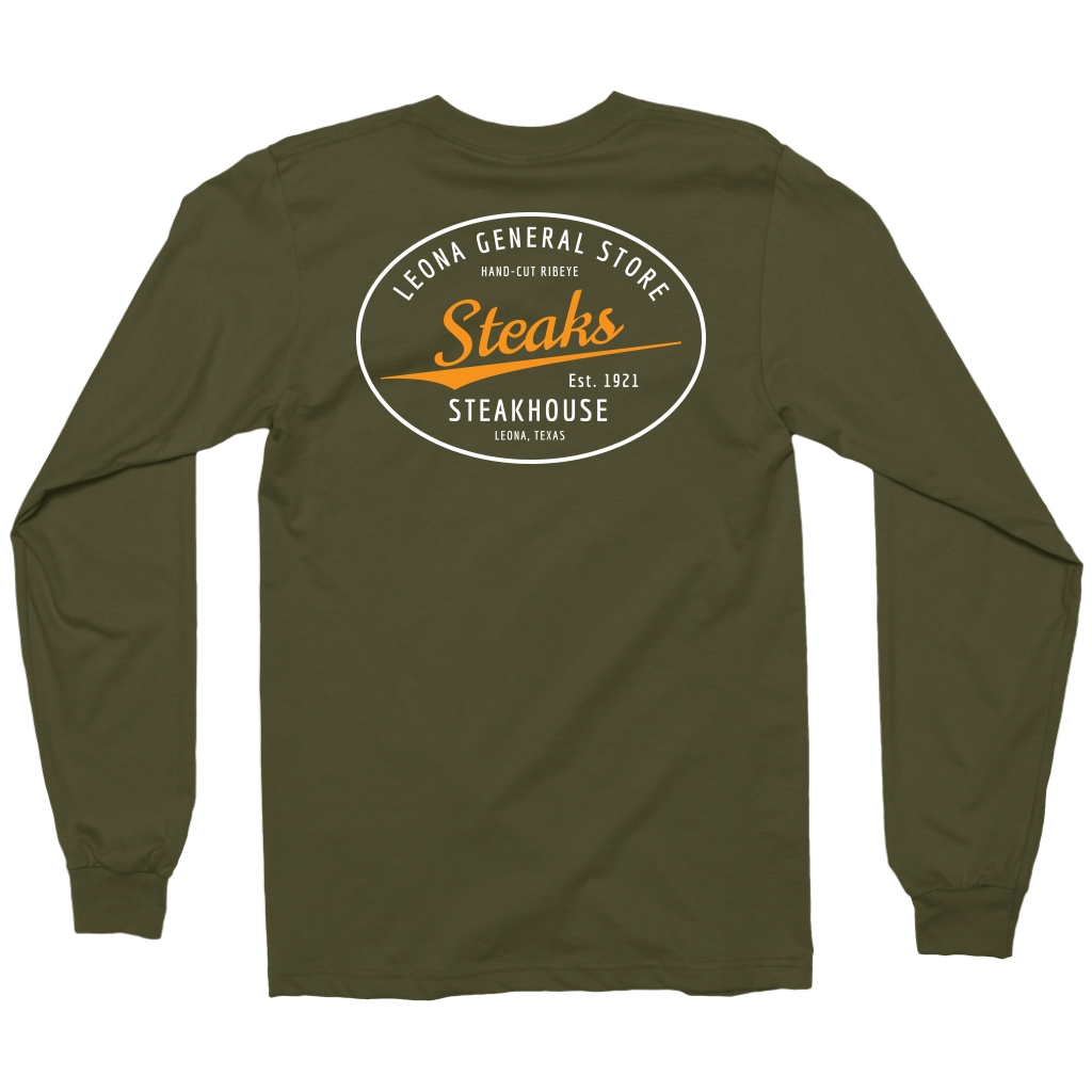 LEONA GENERAL STORE LONG SLEEVE MILITARY GREEN T-SHIRT
