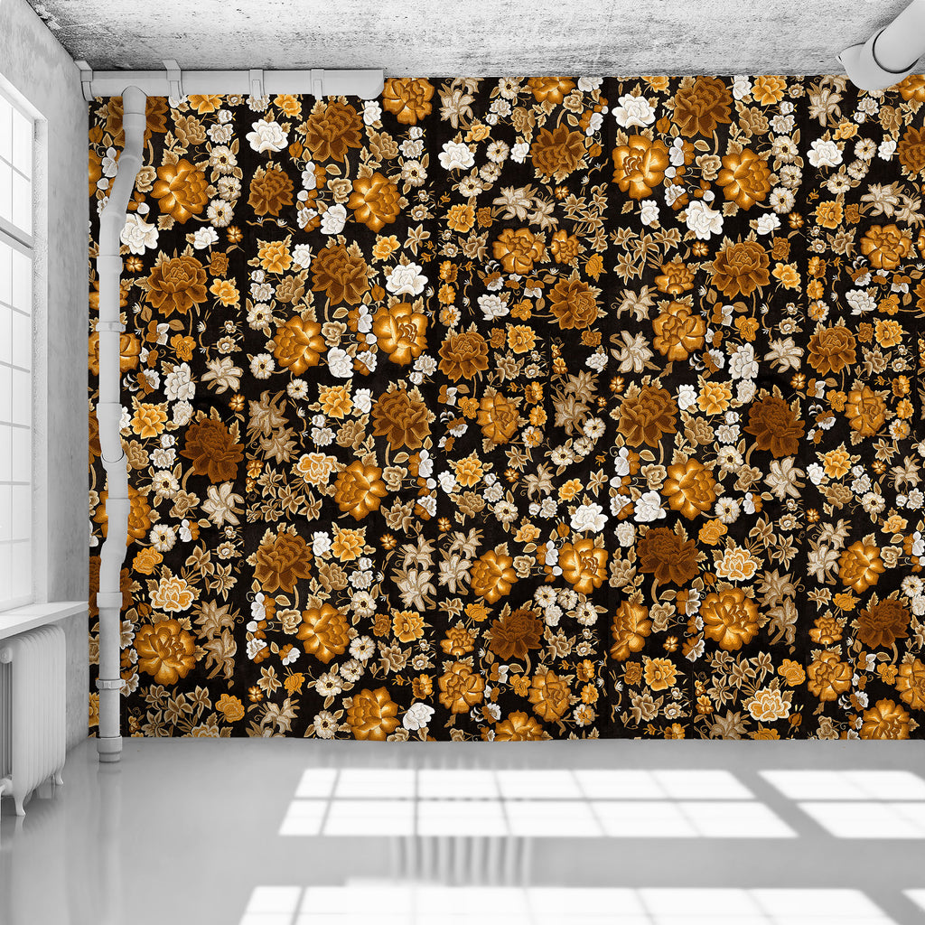 Gold Frida Flowers - WYNIL by NumerArt Wallpaper and Art
