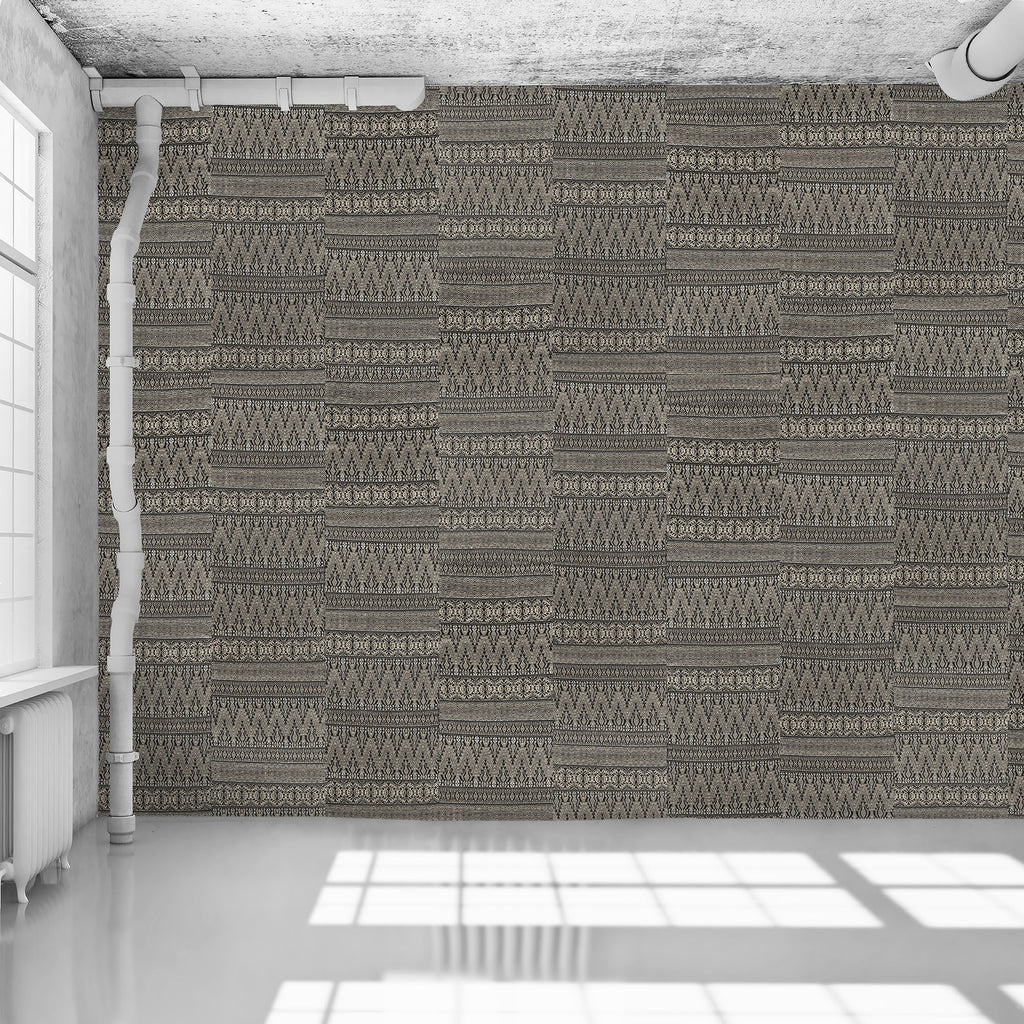 Dark Grey Aztec Embroidery Wallpaper - WYNIL by NumerArt Wallpaper and Art