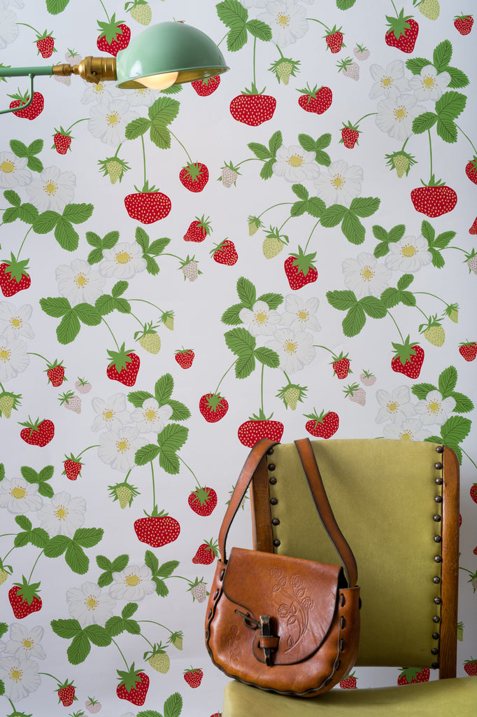 Strawberry Social Wallpaper - WYNIL by NumerArt Wallpaper and Art