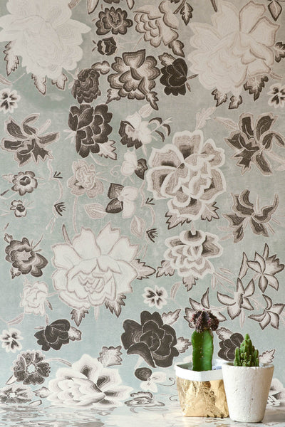 Frida Flowers Grey Wallpaper