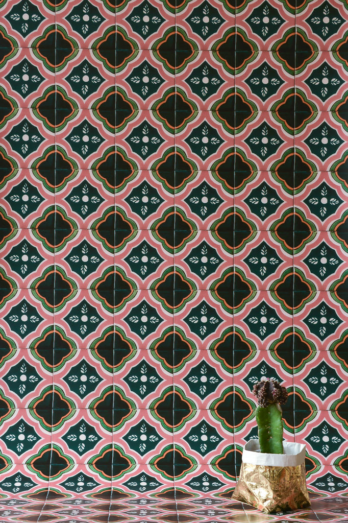 Green & Pink Azulejos Wallpaper - WYNIL by NumerArt Wallpaper and Art