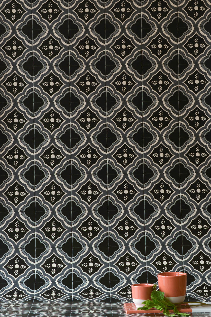 Black & Grey Azulejos Wallpaper