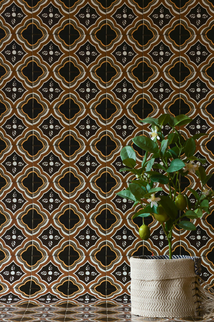 Gold & Brown Azulejos Wallpaper - WYNIL by NumerArt Wallpaper and Art