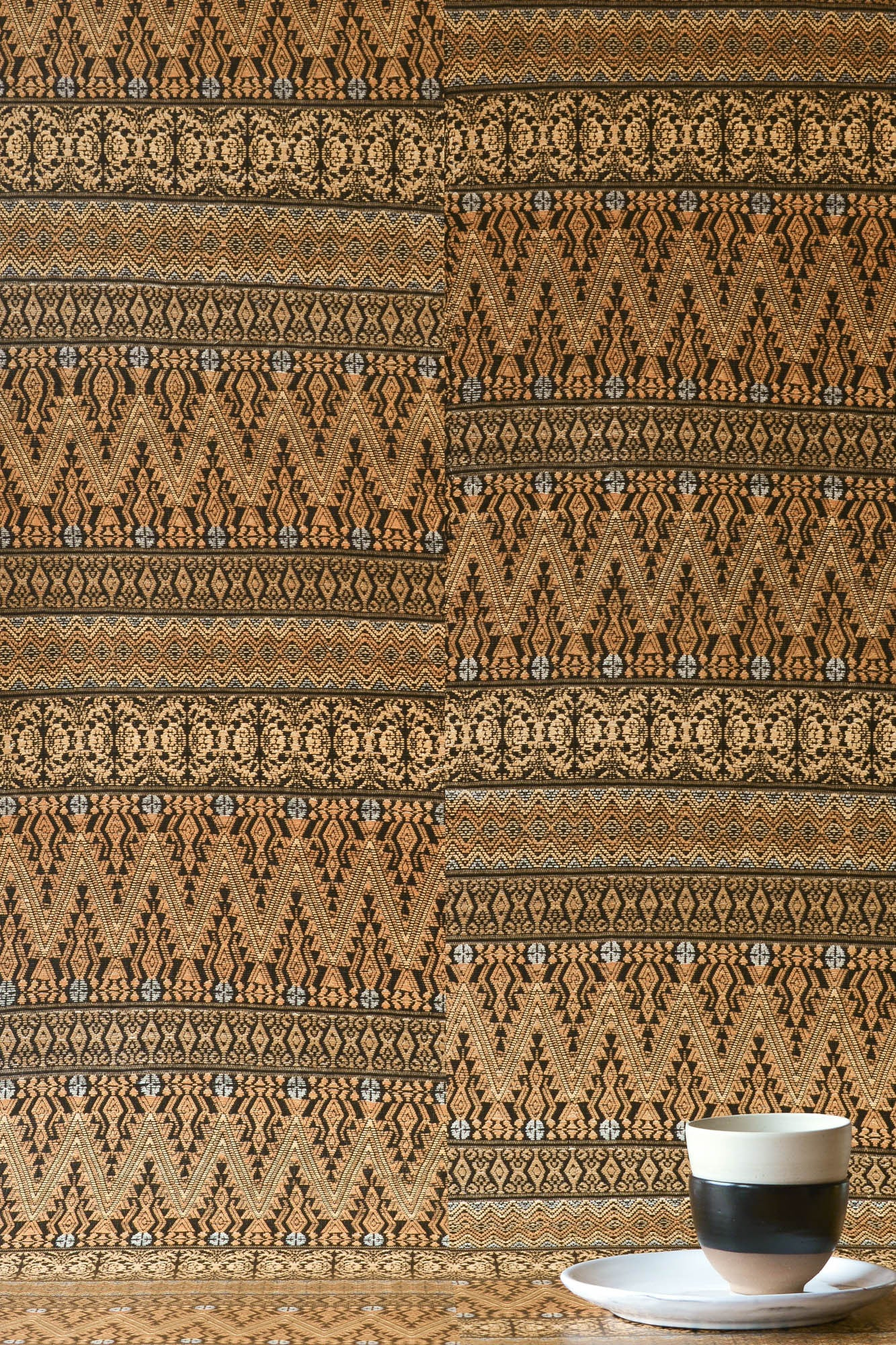 Gold Aztec Embroidery Wallpaper