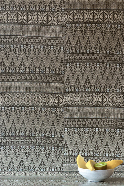 Dark Grey Aztec Embroidery Wallpaper