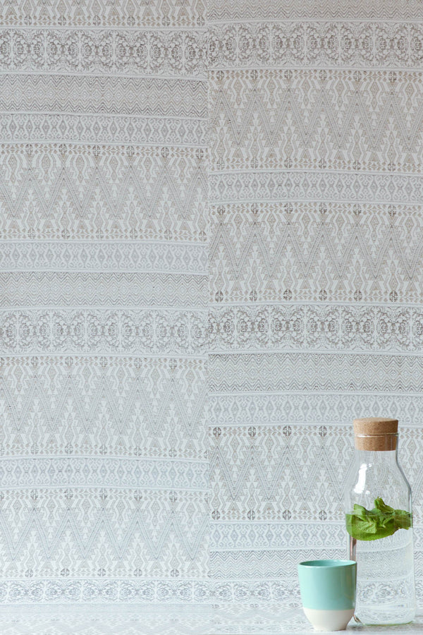 Pale Grey Aztec Embroidery Wallpaper - WYNIL by NumerArt Wallpaper and Art