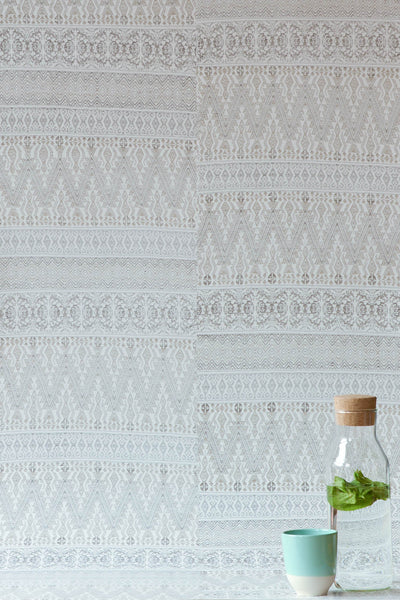 Pale Grey Aztec Embroidery Wallpaper