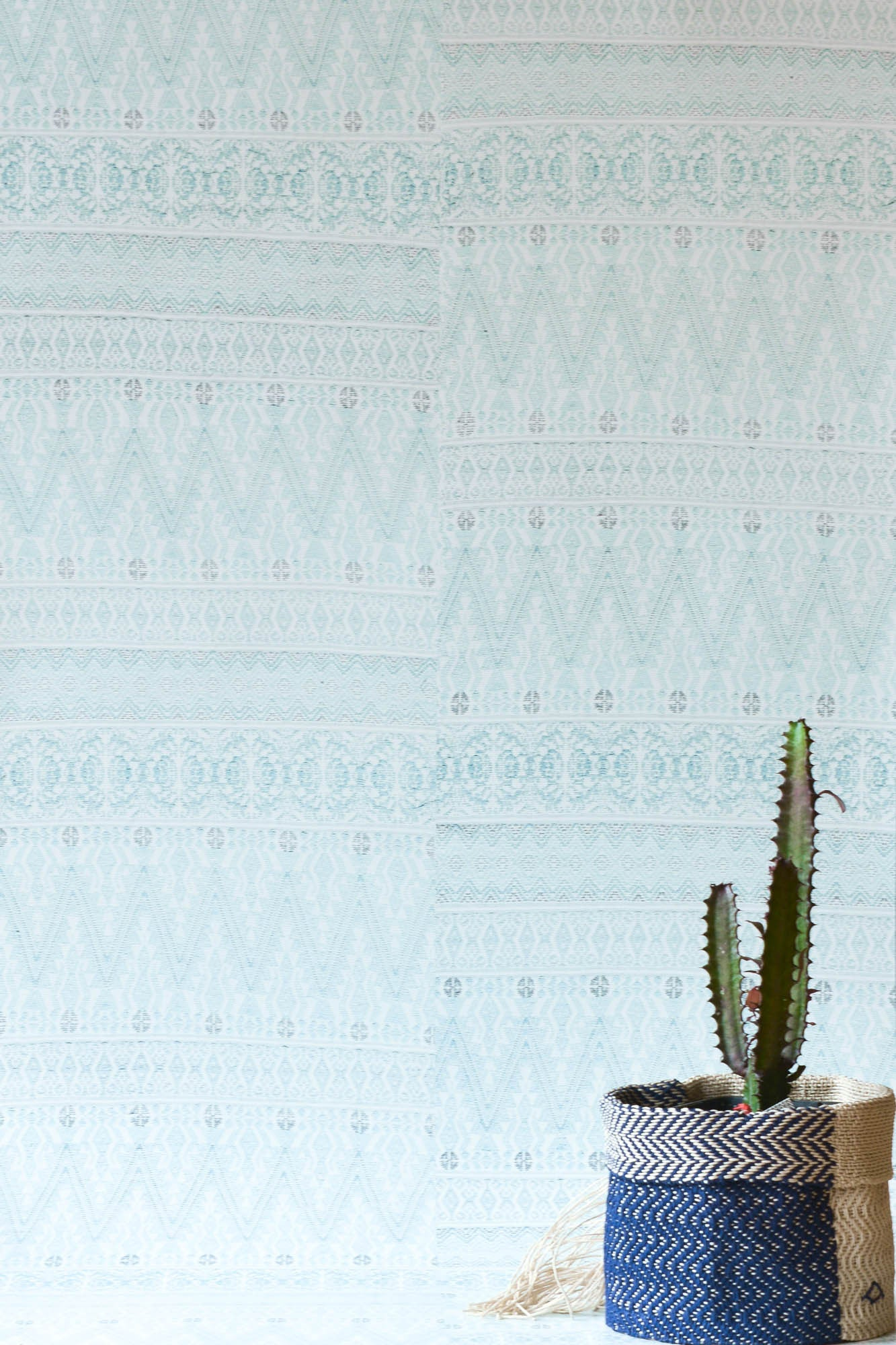 Green Grey Aztec Embroidery Wallpaper
