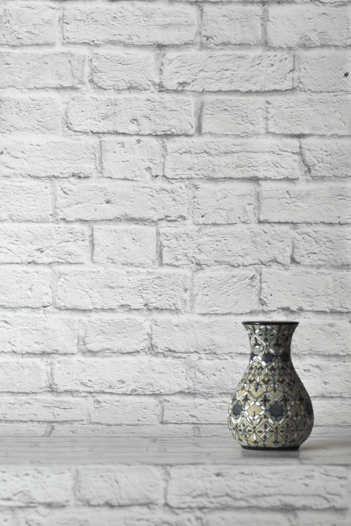 Classic White Bricks Wallpaper - WYNIL by NumerArt Wallpaper and Art