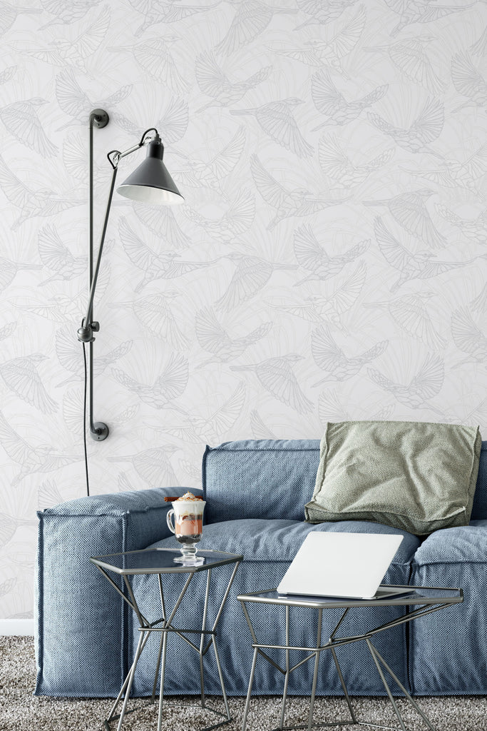 Bluebird Monochrome Wallpaper - WYNIL by NumerArt Wallpaper and Art