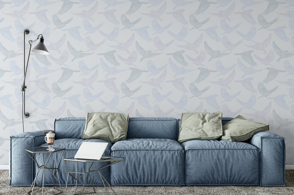 Bluebird Soft Wallpaper - WYNIL by NumerArt Wallpaper and Art